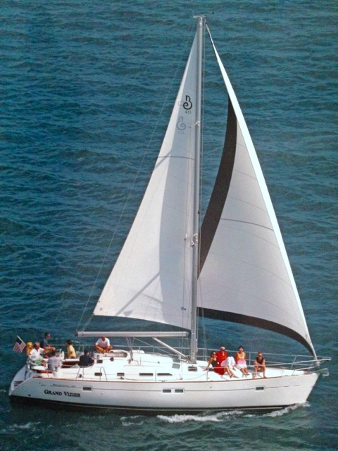 The Grand Vizier, the 43-foot Beneteau Sailboat owned by Brian White and Jim Kinney,