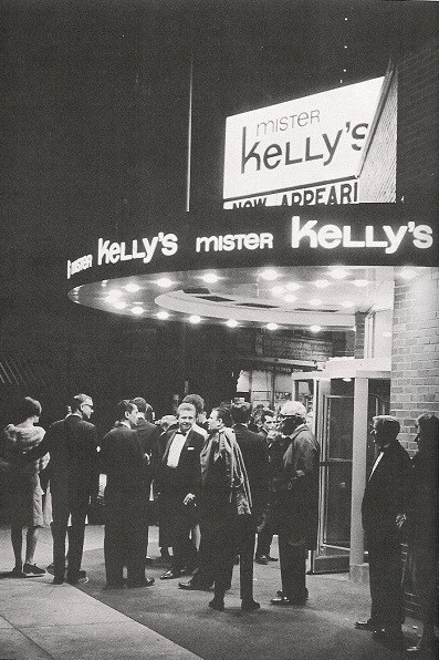 Marquee at Mister Kelly's in black and white