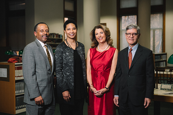 Earl Lewis, Danielle Allen, Victoria J. Herget (Chair of the Newberry Board of Trustees), and David Spadafora (President of the Newberry).