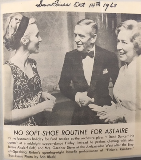 An example of one of the clippings in Dottie's incredible collection, featuring ESU Guest performer Fred Astaire, as captured in the Sun Times in 1968.