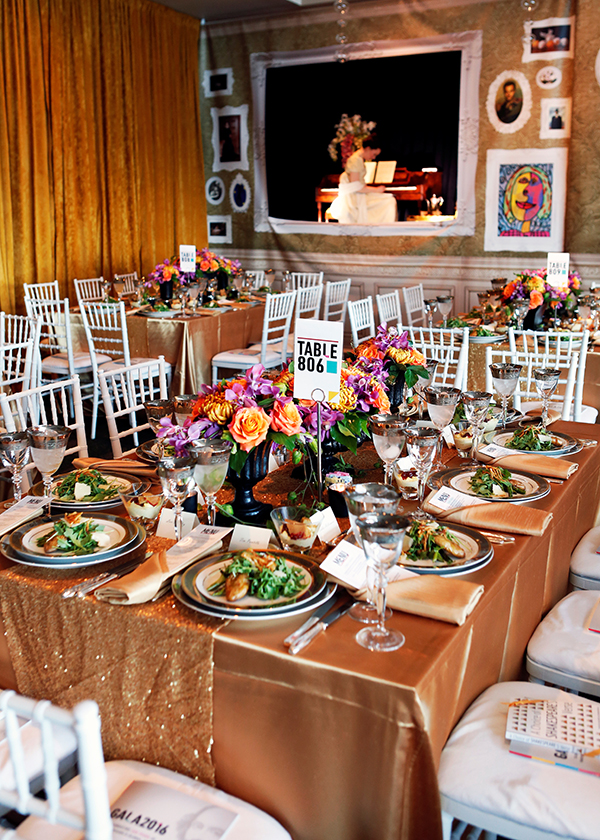 """The festive GALA 2016 atmosphere featured lush floral arrangements from Bukiety and striking visuals, including framed """"Living Pictures,"""" from MDR Creative, Inc."""