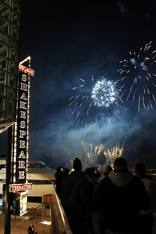 """Chicago Shakespeare Theater's GALA 2016 culminated in a """"Celebration of Shakespeare"""" Fireworks display over Navy Pier."""