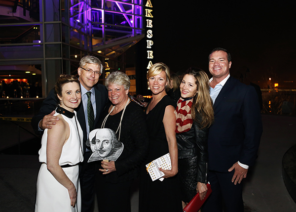 Chicago Shakespeare Director of Institutional Advancement Brooke Flanagan, incoming CST Board of Directors Chair Steven J. Solomon and his wife Robin, Nora Daley Conroy, Tara Flocco, and CST Board Member Patrick Richard Daley.