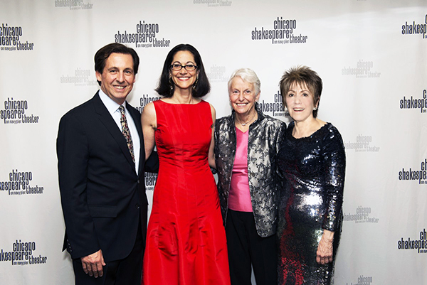 Chicago Shakespeare Executive Director Criss Henderson, Spirit of Shakespeare Honoree Anne Pramaggiore, CST Board of Directors Chair Sheli Z. Rosenberg, and CST Artistic Director Barbara Gaines.