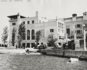 Exterior view of Benjamin Marshall residence on Sheridan Road at Wilmette Harbor in Wilmette, Illinois, September 1923. The Sheridan Shore Yacht Club occupied the lower level of the residence.