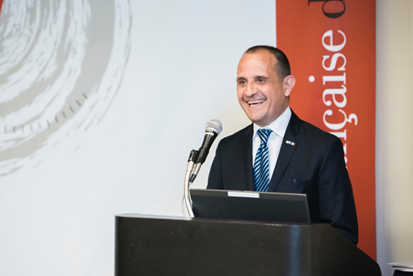 The Consul of France, Vincent Floreani, spoke at the recent ceremony.