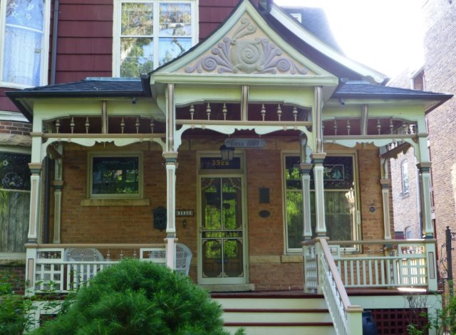 The Queen Ann porch of the Charles N. Loucks House on Keeler Avenue.