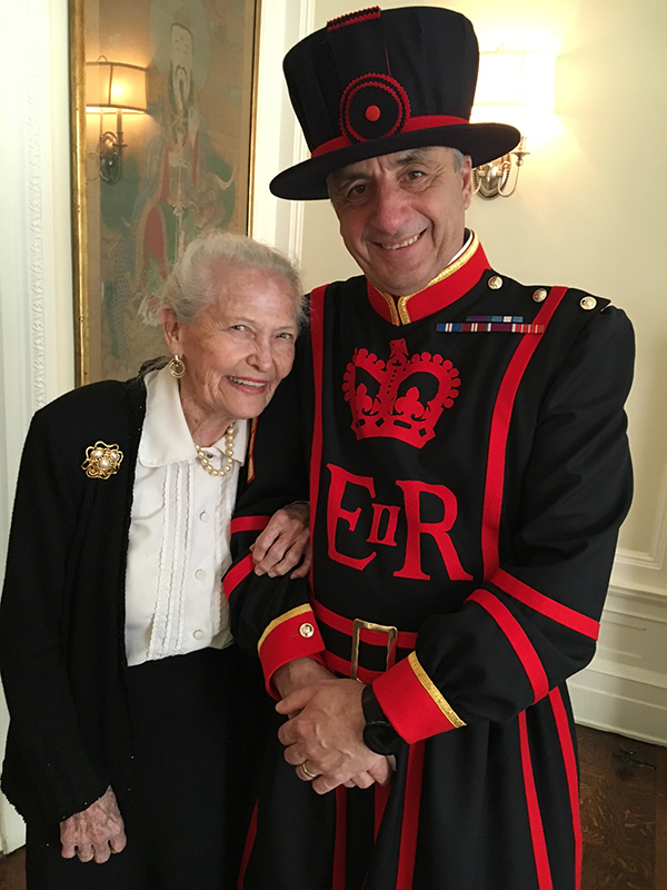 An official Beefeater, lucky enough to have the chance to enjoy the company of the lovely Dottie Pattishall.