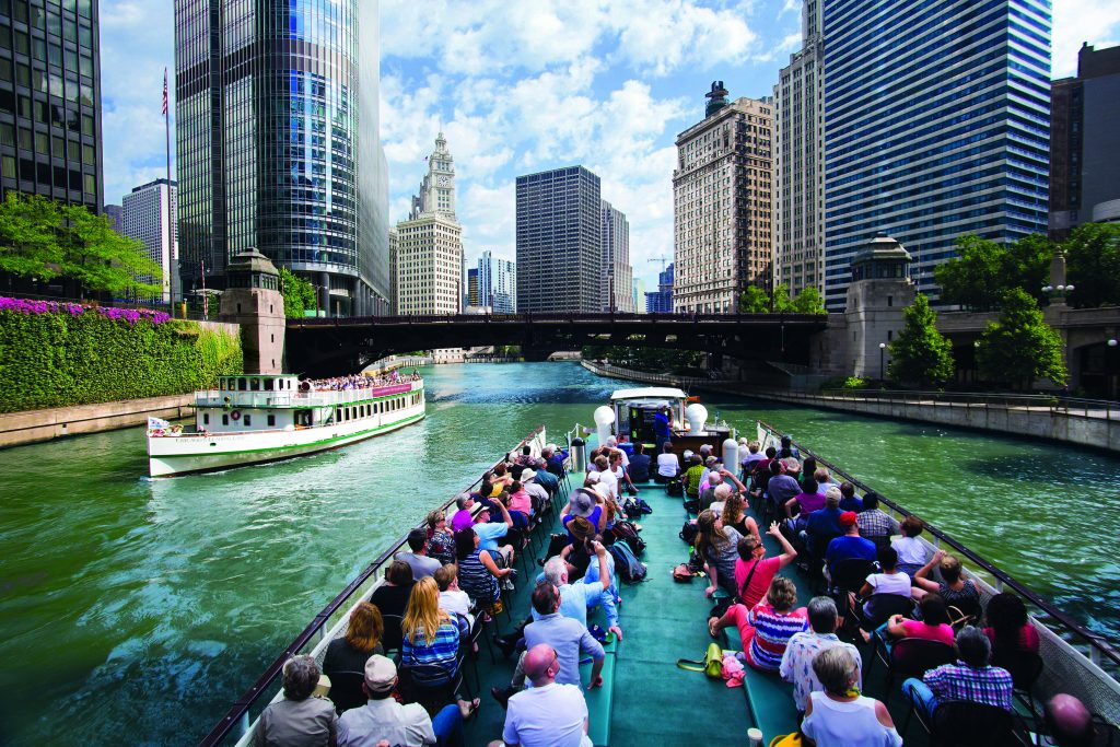 Surrounded by splendor on the Chicago Architecture Foundation River Cruise (photo by Adam Alexander Photography, courtesy of Chicago's First Lady).