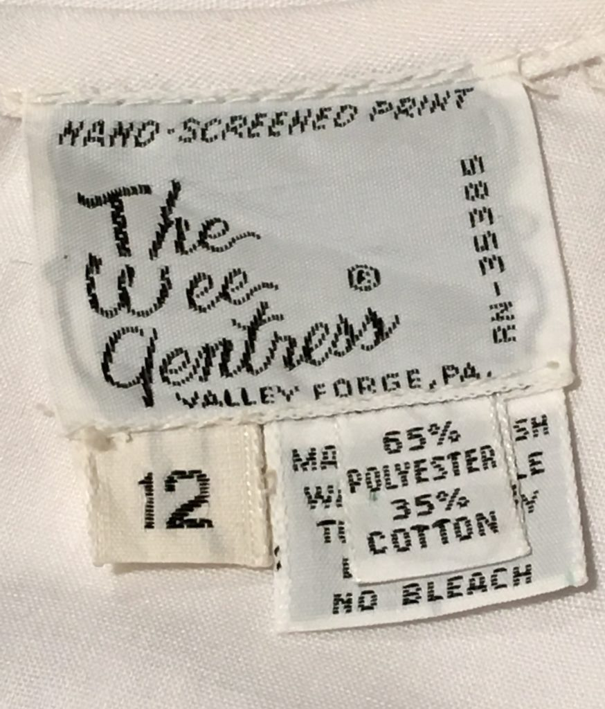 Wee Gentress label. Collection of Ladybug Vintage.