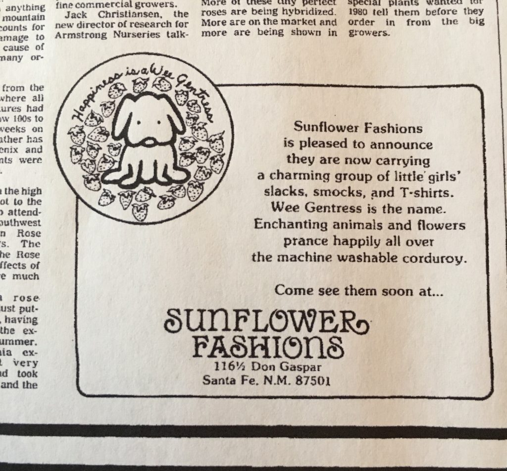 Advertisement for the Wee Gentress in the November 4, 1979 issue of The New Mexican.