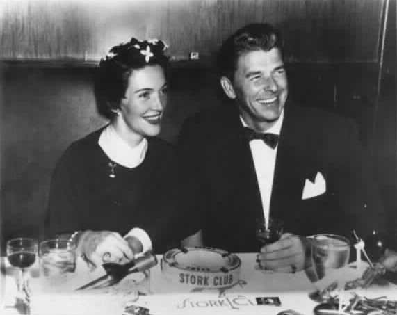 A young Nancy and Ronald Reagan at the Stork Club in the 1950s.