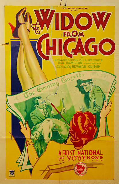 A poster from the 1930 film, The Widow From Chicago, starring Edward G. Robinson and Alice White.