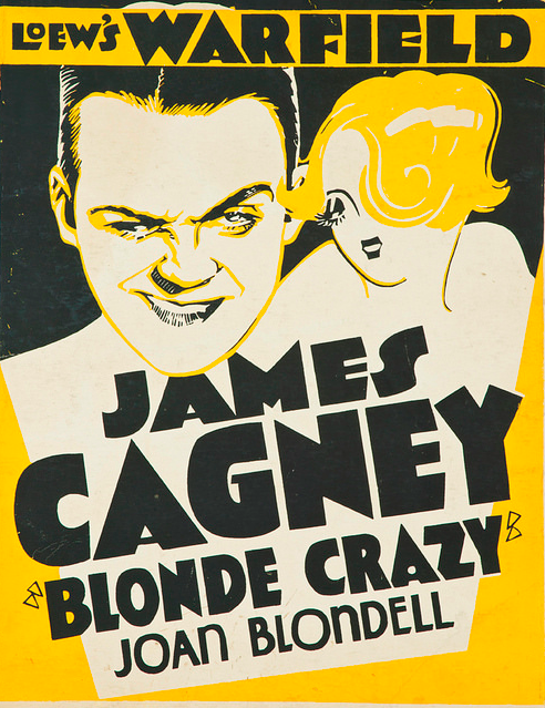 James Cagney's Blonde Crazy from 1931, an example of a film trolley card in the United States.