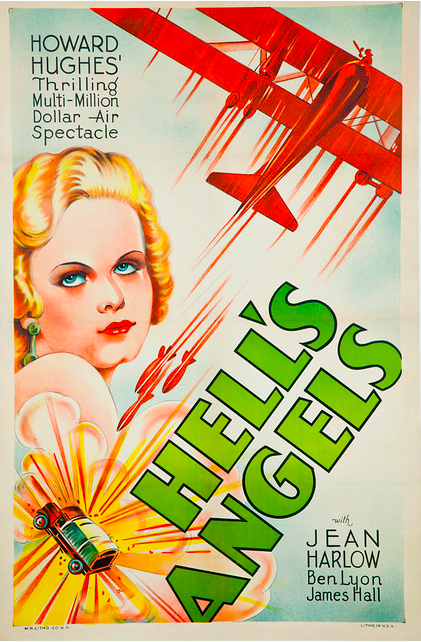 Jean Harlow highlighted on the poster for Howard Hughes' Hell's Angels.