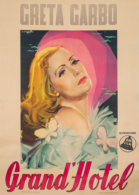 A 1932 Italian poster of Greta Garbo in Grand Hotel, created by famed artist Angelo Cesselon.
