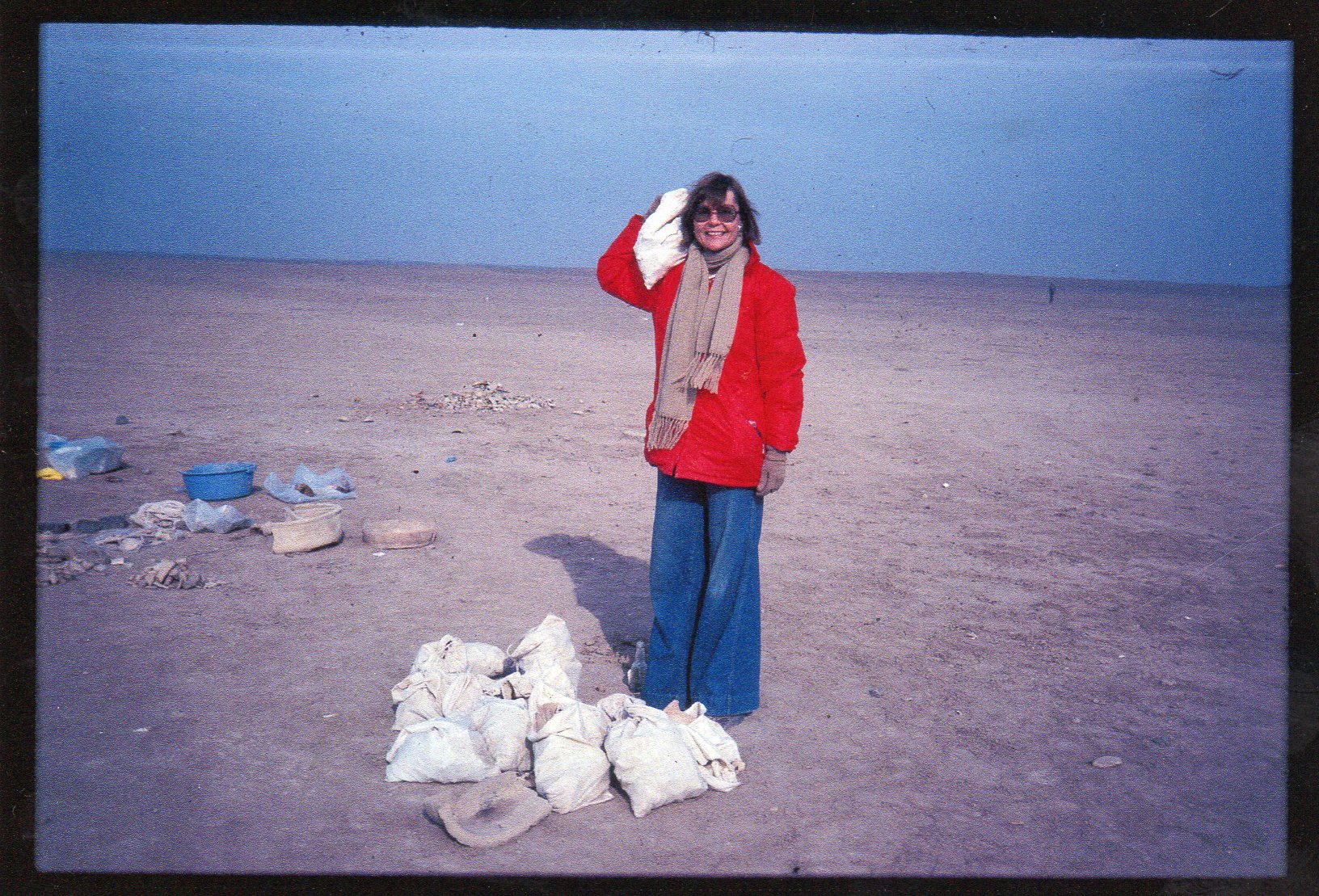 Carlotta at a dig in Iraq.