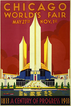 Poster for The Chicago World's Fair, which opened in May of 1933, marked the city's centennial.