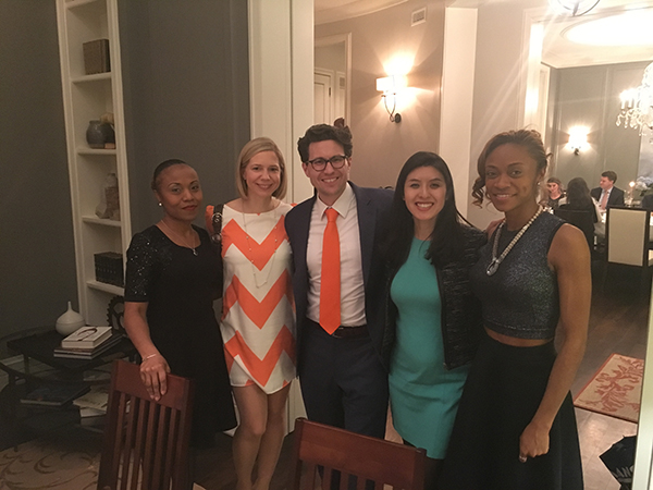 Latin alumni Annette Phillips, Kelly Cameron-Newton, Alumni Board President Taylor Cope, Thanh Nguyen, and Ameerah Phllips.