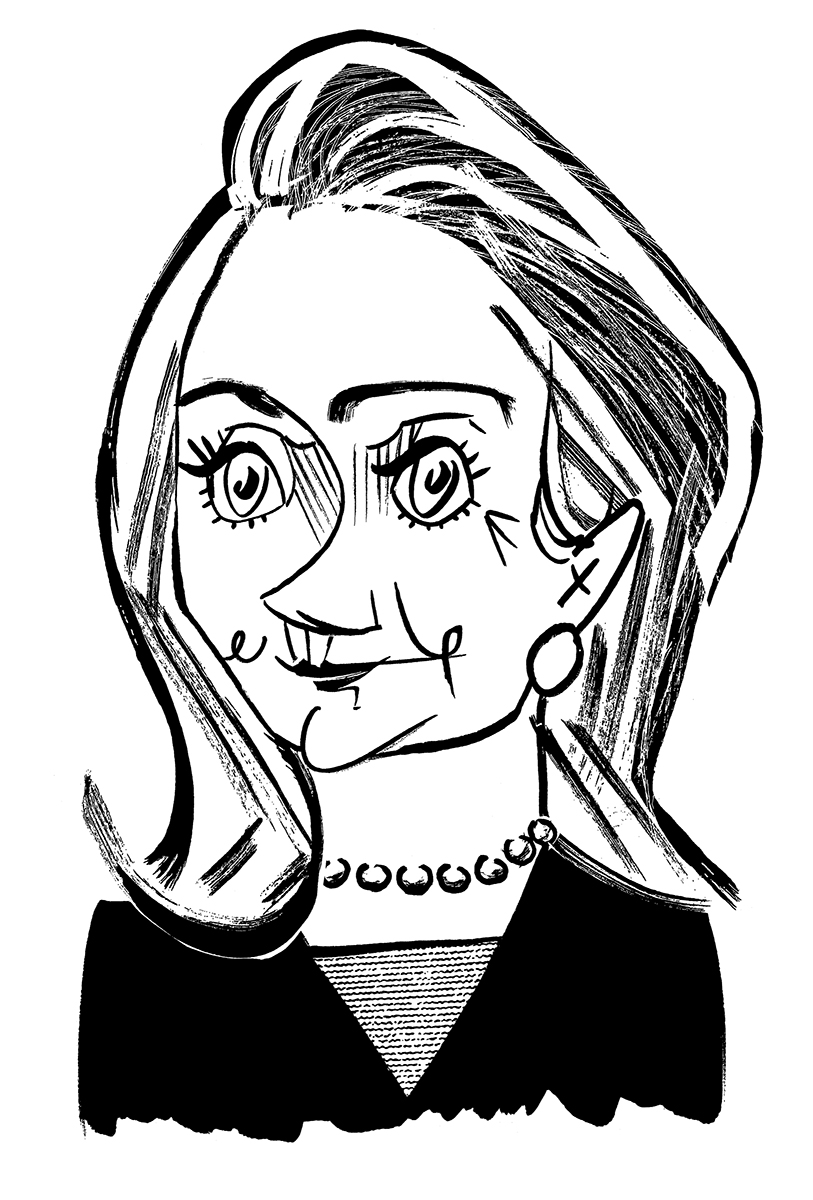 Potential future POTUS, Hilary Clinton, drawn by Bachtell.