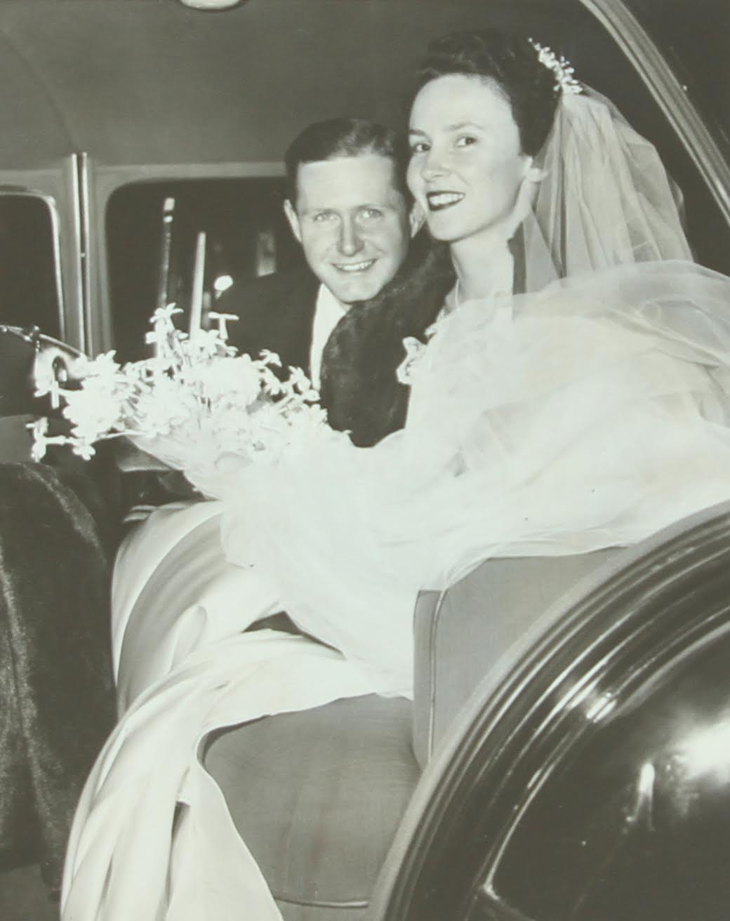 Mary Young and husband, George, on their wedding day.