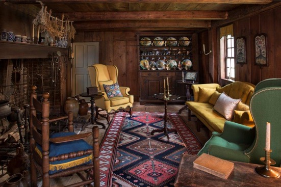 Cheerful upholstery pairs perfectly with the warm wood tones.