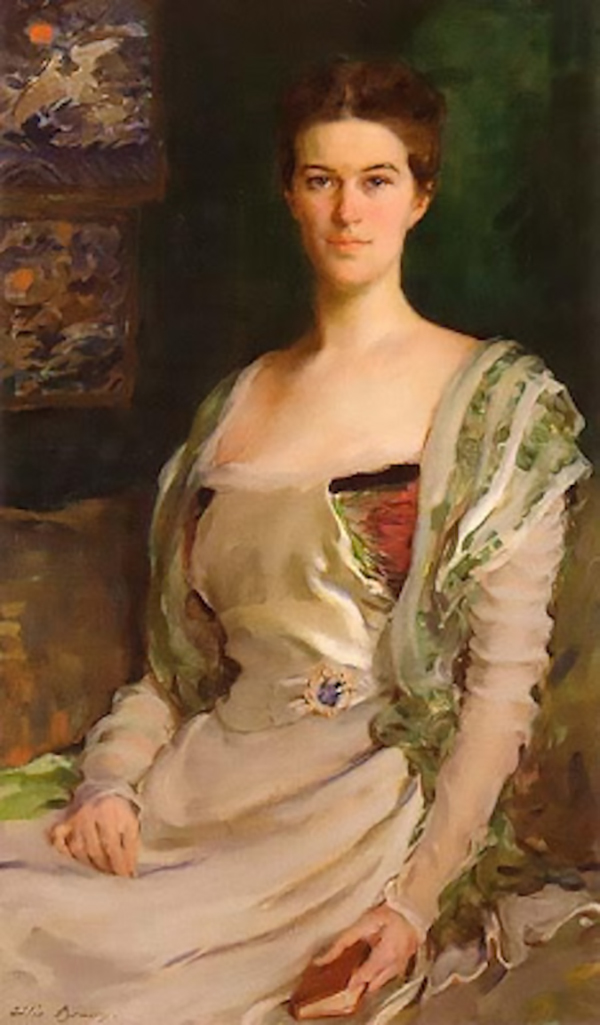 Edith Minturn Phelps Stokes, the muse of John Singer Sargent and Daniel Chester French, in a portrait by Cecilia Beaux in a private collection).