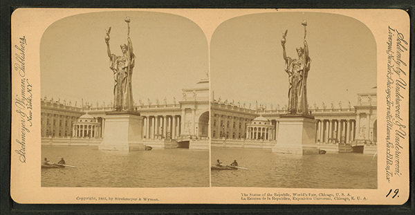 The Statue of the Republic at the World's Fair by Daniel Chester French, photographed by Strohmeyer & Wyman, 1893.
