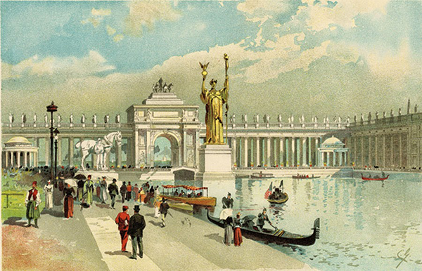 A watercolor by Charles Graham for the Chicago Tribune depicting the statue.