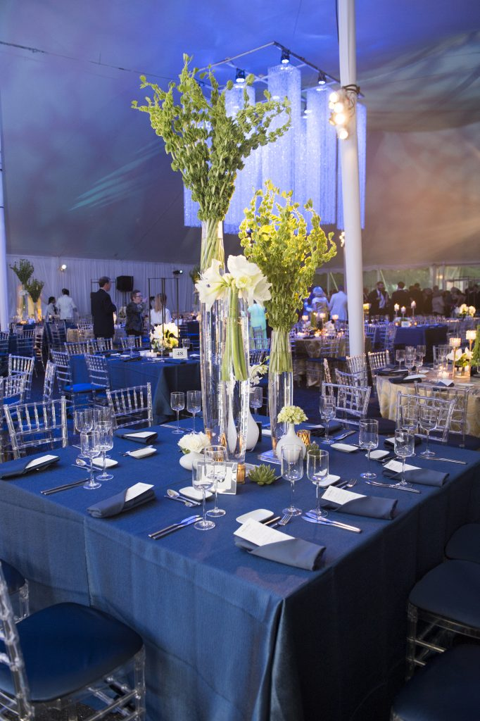 The elegant blue and white trimmings inside the tent.