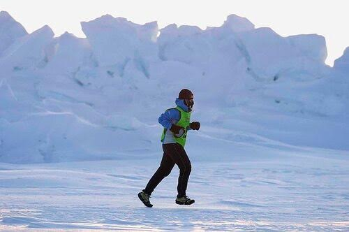 Sarah Ames running in the World Marathon Challenge at the North Pole, 2008.