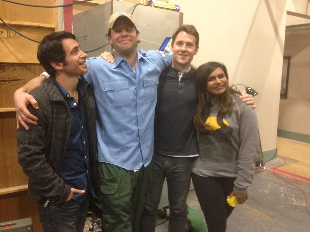 David Stassen, second from right, with Chris Messina, Ike Barinholtz, and Mindy Kaling of The Mindy Project.