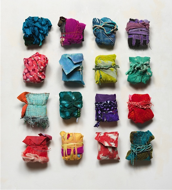 Diane Cooper, Bundles 2015, 2015, Mixed media, fiber, dye, acrylic, leather, glass, courtesy Jean Albano Gallery.