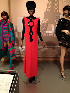 "Pierre Cardin dress from the ""50 Years of Ebony Fashion Fair"" exhibit at Chicago History Museum."
