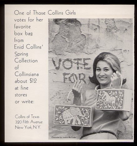1960's Collins of Texas advertisement featuring political box bags.