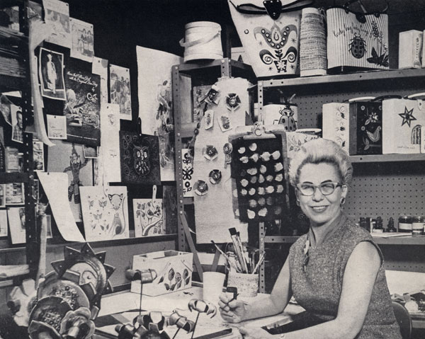 Enid Collins in her studio in the 1960s.