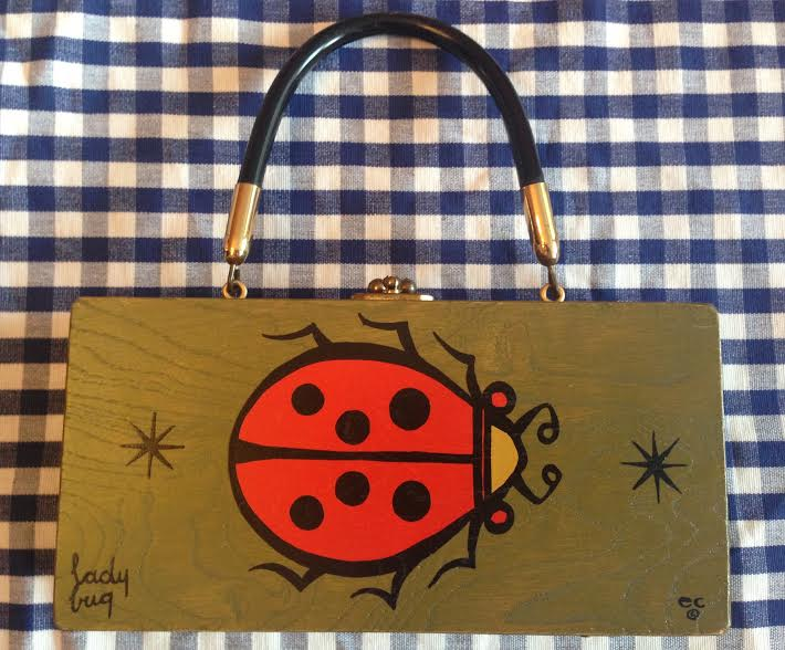 Enid Collins' 1967 Collins of Texas 'Lady Bug' box bag from Ladybug Vintage.