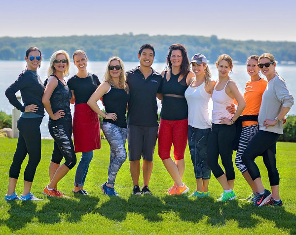 Elizabeth Cole, second from left, with trainer Philip Chung at center, and her group at the Salveo Wellness Retreat in Lake Geneva last fall.