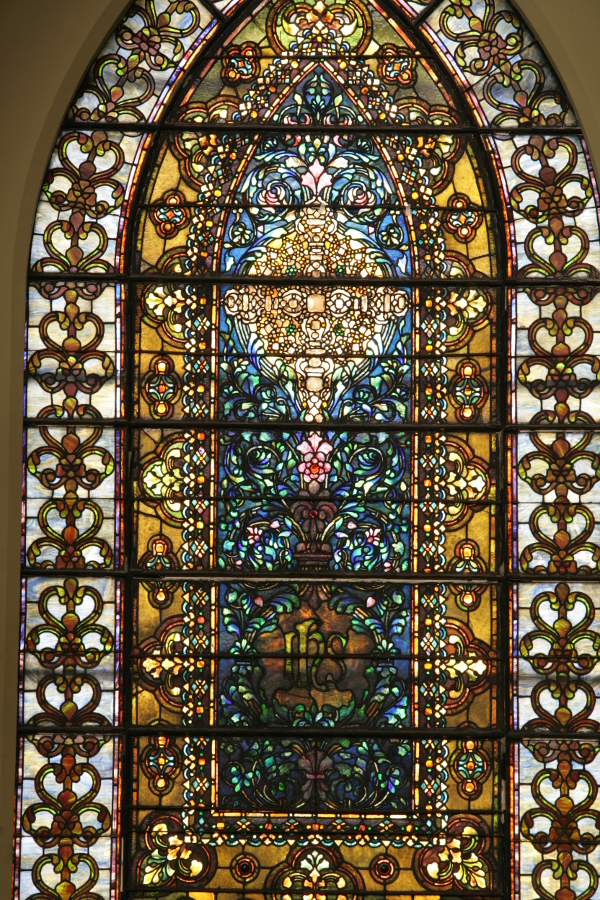 The Tiffany Jeweled Window, given by Marshall Field I to First Presbyterian Church, coming to Second Presbyterian Church in 1927.