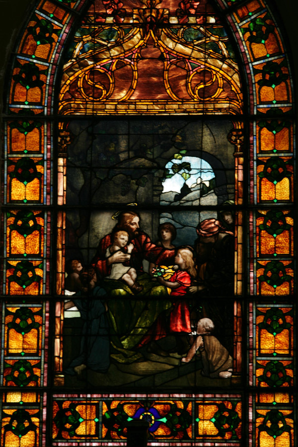 """Christ Blessing the Little Children Window,"" the oldest in the church."