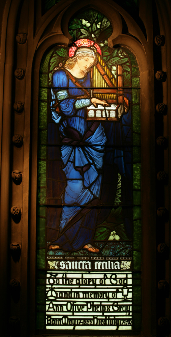 The Saint Cecilia window, one of the two rare pieces in the church by artist Sir Edward Burne-Jones.