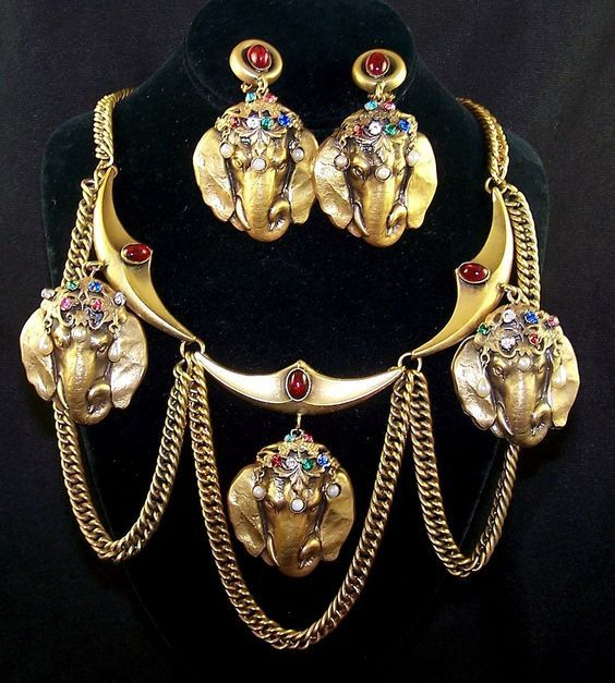 Joseff of Hollywood elephant necklace and earrings set.