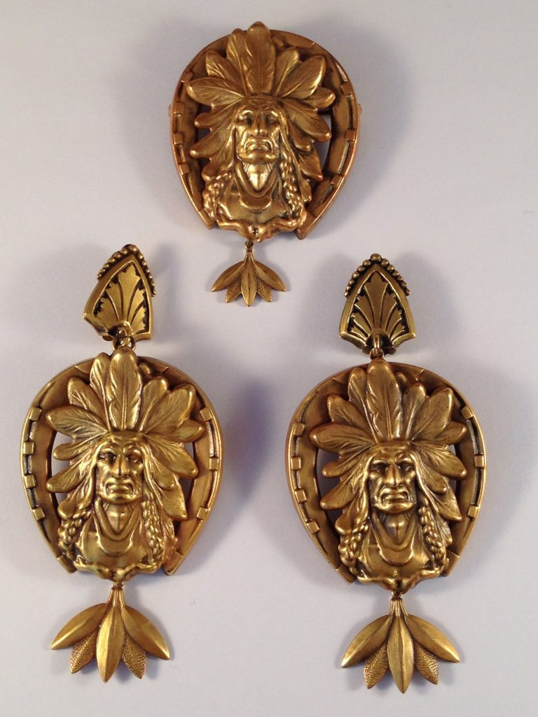 Joseff of Hollywood Native American brooch and earrings set. From the collection of Ladybug Vintage.
