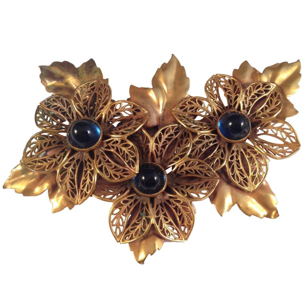 1940s floral brooch by Joseff of Hollywood. From the collection of Ladybug Vintage.