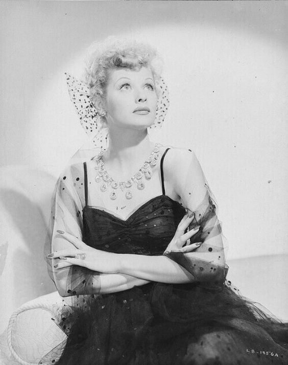 Lucille Ball wearing Joseff of Hollywood jewelry.