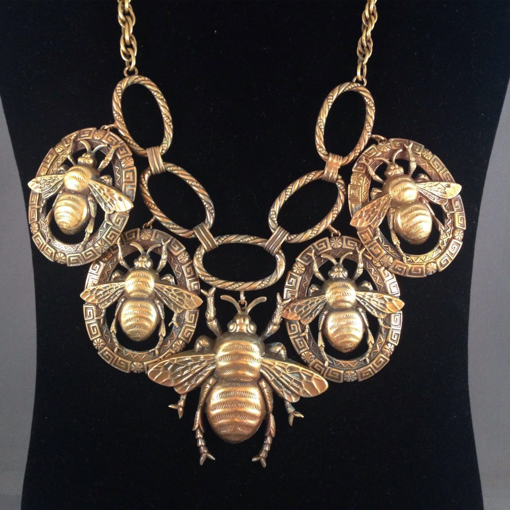 Joseff of Hollywood Bee Necklace with Russian gold finish. Collection of Ladybug Vintage.