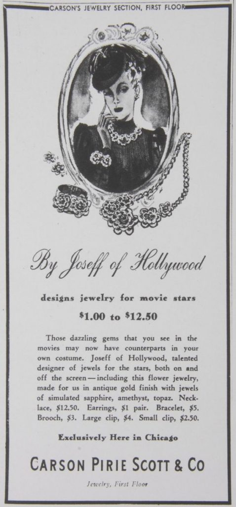 A vintage advertisement for Joseff of Hollywood jewelry from Carson Pirie Scott in Chicago.