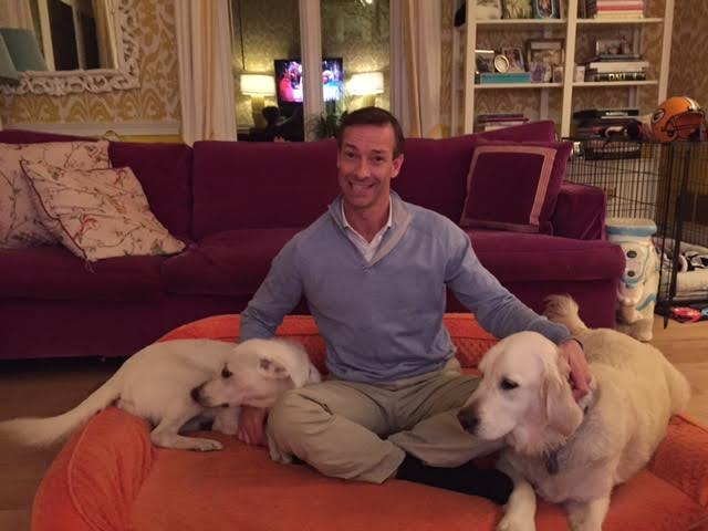 Patrick Wood-Prince and his pals Dilly and Sherman enjoy relaxing at home.