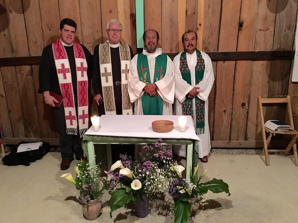 The Reverends Wes Smedley and George Hull with Obispo Benito Juarez, Bishop of the Diocese of Southeast Mexico, and Padre Florencio Onorio at the Anglican Chapel in San Cristobal.