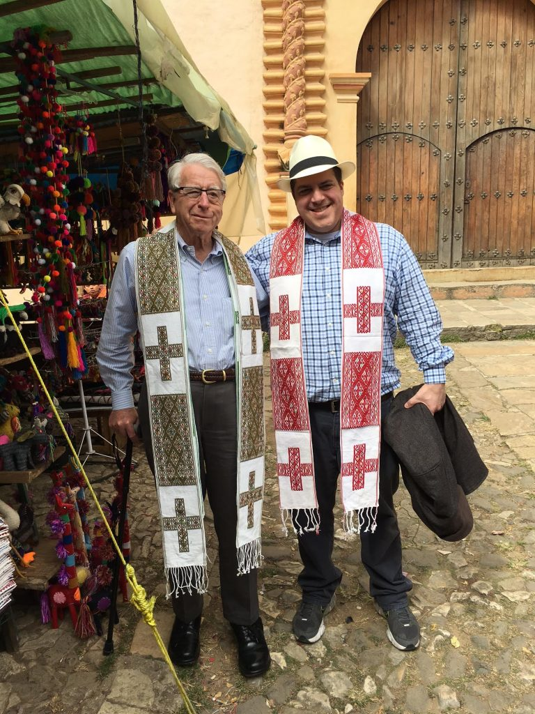 The Reverend George Hull and the Reverend Wes Smedley in handmade stoles from Chiapas.